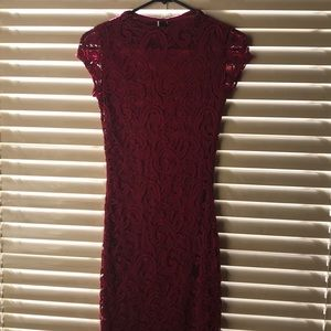 Burgundy cap sleeve dress